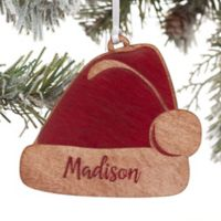 Santa Hat Personalized Wood Christmas Ornament in Red
