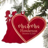 Mrs. & Mrs. Wedding Couple Personalized Wood Ornament in Red