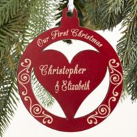 Bless Our Family Personalized Wood Christmas Ornament in Red