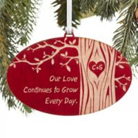 Carved In Love Personalized Christmas Ornament in Red