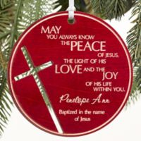 Blessings For You Wood Keepsake Christmas Ornament in Red