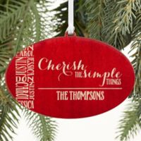 Cherish The Simple Things Christmas Ornament in Red