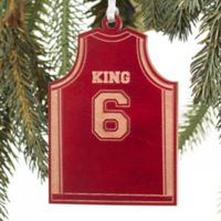Basketball Jersey Wood Christmas Ornament in Red
