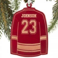Hockey Jersey Wood Christmas Ornament in Red