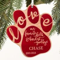 Hardest Goodbye Wood Pet Memorial Ornament in Red