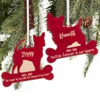 Dog Breed Memorial Personalized Wood Christmas Ornament in Red