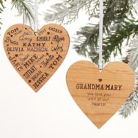 Close To Her Heart Message Personalized 2-Sided Wood Christmas Ornament in Natural Wood