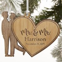 Mr. & Mr. Wedding Couple Personalized Wood Ornament in Red