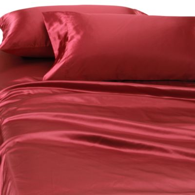Satin Luxury Deep Pocket Full Sheet Set In Red