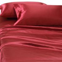 Satin Luxury Deep Pocket Full Sheet Set in Red
