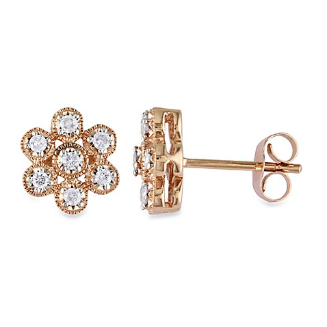 10K Pink Gold and Diamond 1/4 cttw Pin Earrings