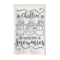"Love You a Latte ""Chillin' with my Snowmies"" Kitchen Towel in White"