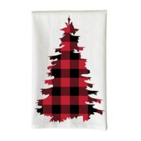 Love You a Latte Shop Christmas Red Plaid Tree Kitchen Towel in White