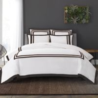 Wamsutta® Hotel Border MICRO COTTON® King Duvet Cover Set in White/Onyx