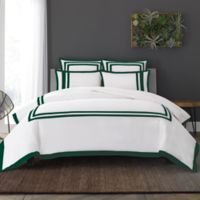 Wamsutta® Hotel Border MICRO COTTON® King Duvet Cover Set in White/Forest