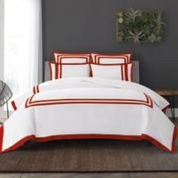 Wamsutta® Hotel Border MICRO COTTON® King Duvet Cover Set in White/Red