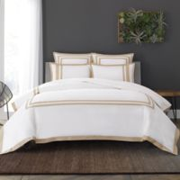 Wamsutta® Hotel Border MICRO COTTON® King Duvet Cover Set in White/Honey