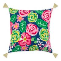 Rizzy Home Roses 18-Inch Square Throw Pillow in Indigo