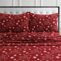 Tribeca Living® Deer Flannel Sheet Set in Deep Red