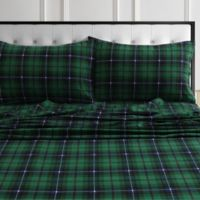 Tribeca Living® 170 GSM Charleston Plaid Flannel Twin XL Sheet Set in Green
