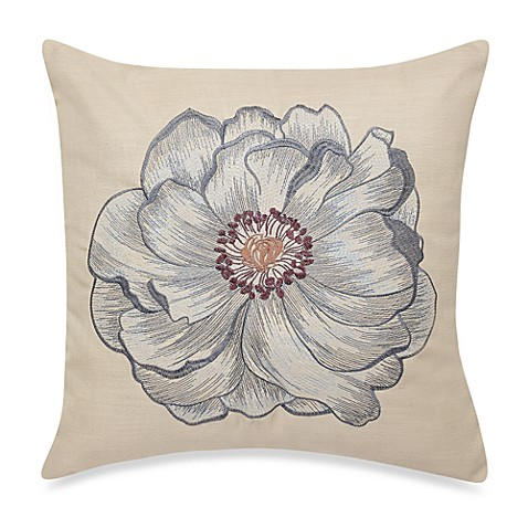 Solo Poppy Cream/Blue Square Throw Pillow