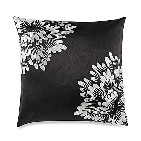 Corner Bloom Black Throw Pillow