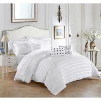 Dazza 6-Piece Queen Comforter Set in White