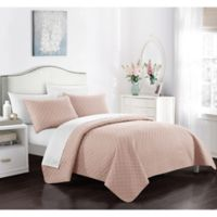 Chic Home Gideon Queen Quilt Set in Coral