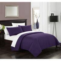 Gideon Queen Quilt Set in Purple