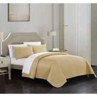 Chic Home Platt Queen Quilt Set in Gold