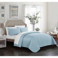 Chic Home Platt King Quilt Set in Blue