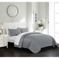 Chic Home Platt King Quilt Set in Silver