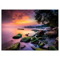 Cleveland Ohio Sunrise at Edgewater Beach 12-Inch x 18-Inch Canvas Wall Art