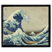 Artwall The Great Wave Off Kanagawa 18-Inch x 24-Inch Framed Canvas Wall Art