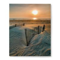 Artwall Sunrise over Hattras 14-Inch x 18-Inch Wrapped Canvas Wall Art
