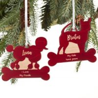 Pet Breed Personalized Wood Christmas Ornament in Red