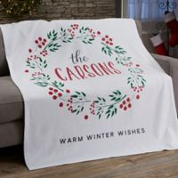 Christmas Wreath Personalized Blanket