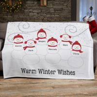 Snowman Family Personalized Blanket