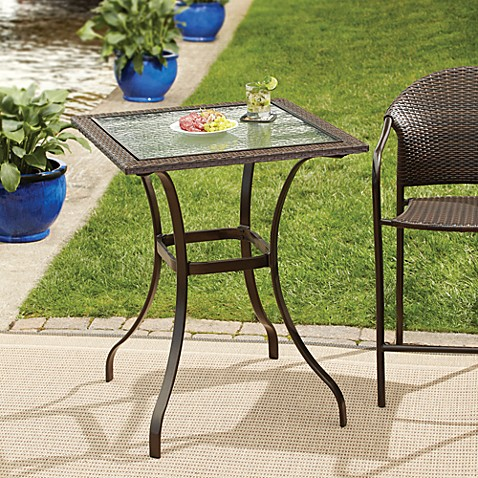 Stratford Wicker And Glass Balcony Table Bed Bath Beyond - Bed bath and beyond outdoor furniture