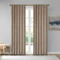 510 Design Colt Velvet 95-Inch Rod Pocket Room Darkening Window Curtain Panel Pair in Taupe