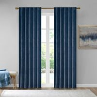 510 Design Colt Velvet 63-Inch Rod Pocket Room Darkening Window Curtain Panel Pair in Navy