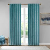 510 Design Colt Velvet 63-Inch Rod Pocket Room Darkening Window Curtain Panel Pair in Aqua