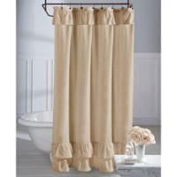 Wamsutta® Vintage Ruffle 72-Inch x 84-Inch Shower Curtain in Khaki