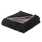 Faux-Fur Oversized Reversible Throw in Black