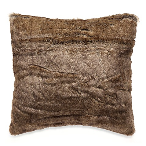 Faux Fur Toss Pillow in Multi-Tan