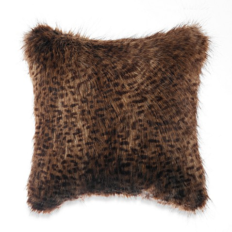 Faux Fur Throw Pillow in Chocolate
