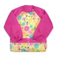 green spouts® by i play® Snap & Go 12-24M Long Sleeve Bib in Pink Bee