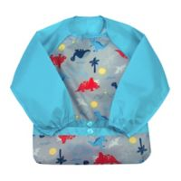 green spouts® by i play® Snap & Go 12-24M Long Sleeve Bib in Aqua Dino