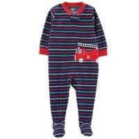 carter's® Size 24M Fire Truck Fleece Footed Pajama in Navy