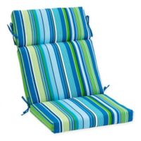 Stripe Outdoor High Back Chair Cushion in Cool Tahoe